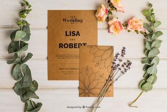 Conjunto romântico de casamento em papelão