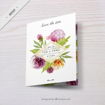Convite do casamento com decoração floral da aguarela