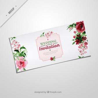 Convite elegante do casamento com rosas da aguarela