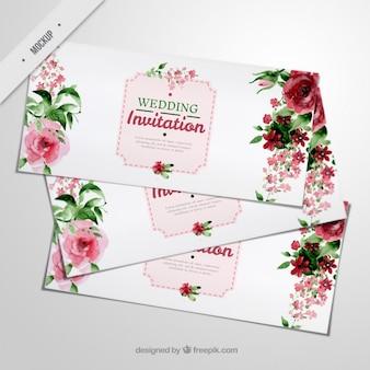 Convites elegantes do casamento com rosas da aguarela e folhas