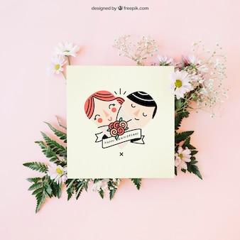 Decoração de casamento com cartão bonito