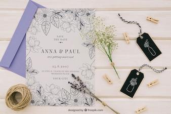 Diseño de mock up con invitación de boda elegante