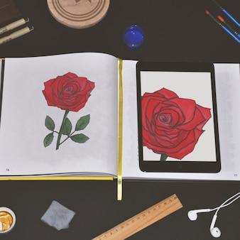 Diseño de mock up de cuaderno y tableta