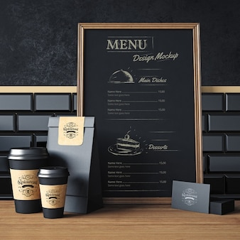 Diseño de mock up de elementos de restaurante