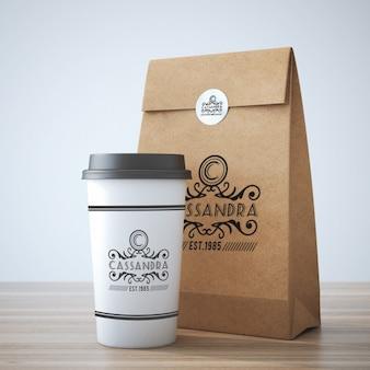 Diseño de mock up de vaso de café y bolsa para llevar