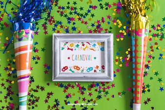 Diseño de mockup de marco de carnaval