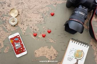 Elementos de viagem com smartphone