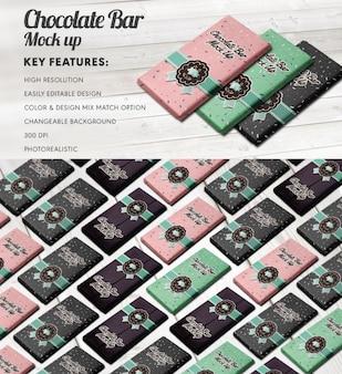 Embalagem de chocolate simulação de design
