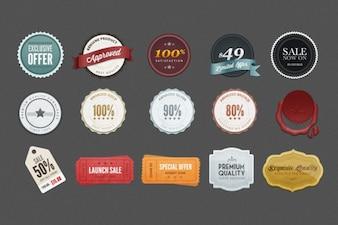 Emblemas promoção coloridos psd