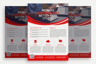 Folheto de negócios vermelho e branco