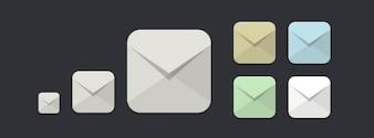 Iconos de correo electrónico diseñados planas