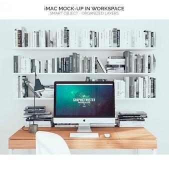 IMac mock-up no espaço de trabalho