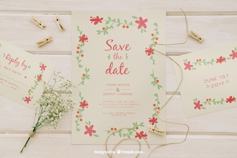 Invitaciones de boda y elementos de boda