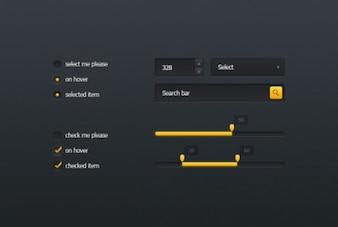 Kit interface pequena no projeto escuro