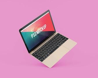 Laptop, cor-de-rosa, fundo, maquete, cima