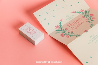 Linda invitación y tarjetas de boda