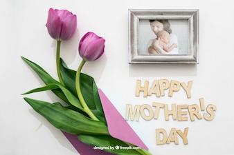 Marco de fotos y rosa para el día de la madre