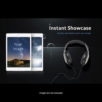 Mock de tela de tablet com fones de ouvido