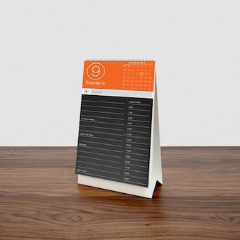 Mock up de calendario sobre escritorio de madera