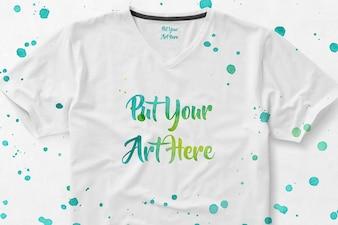 Mock up de camiseta con pintura
