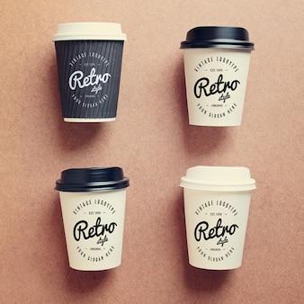 Mock up de colección de vasos de café
