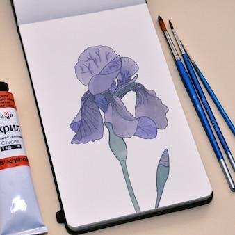 Mock up de cuaderno de pintura