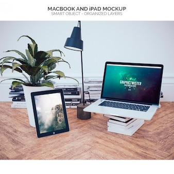 Mock up de makbook en oficina
