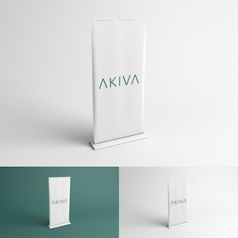 Mock up de roll up de vista en perspectiva