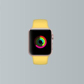Mock up de smartwatch amarillo