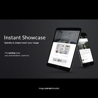 Mock up de tableta y smartphone sobre fondo negro