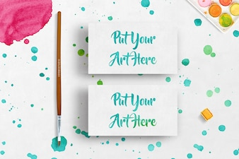 Mock up de tarjetas de negocios con diseño de pintura