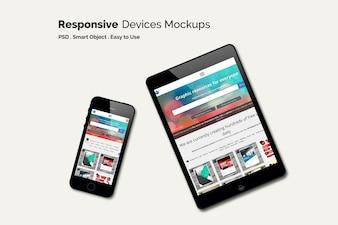 Mock up de teléfono móvil y tableta