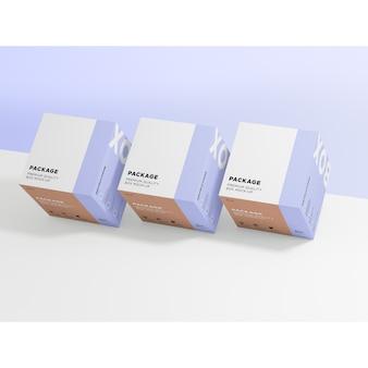 Mock up de tres cajas idénticas