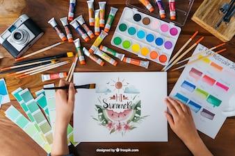 Mockup creativo de arte y pintura