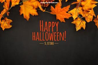 Mockup de halloween con hojas de otoño
