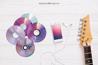 Mockup de música com cds