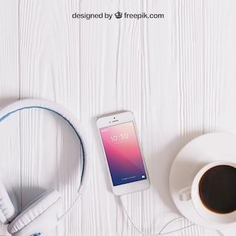Mockup de música com smartphone