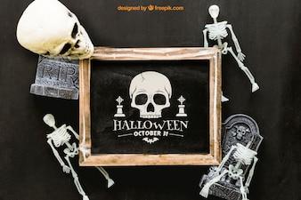 Mockup de pizarra de halloween con esqueletos