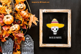 Mockup de pizarra de halloween con lápidas
