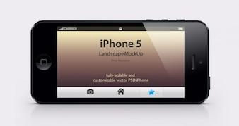 Mockup iphone paisaje psd