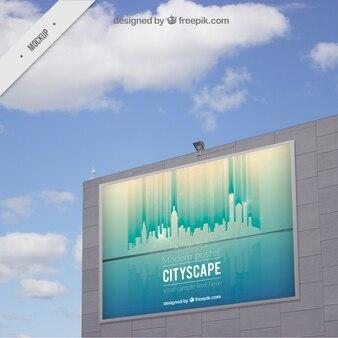 Modelo de cartel exterior de paisaje urbano
