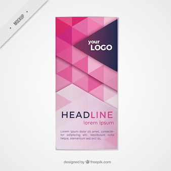 Modelo de folleto de triángulos rosa