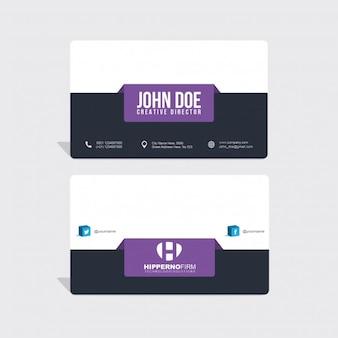Moderna tarjeta de visita con elementos púrpuras