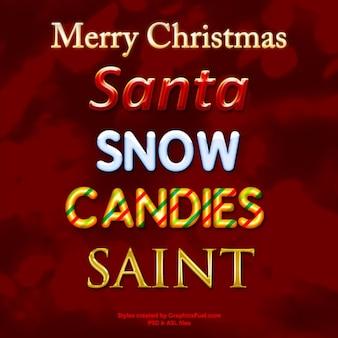 O texto do Natal estilos photoshop