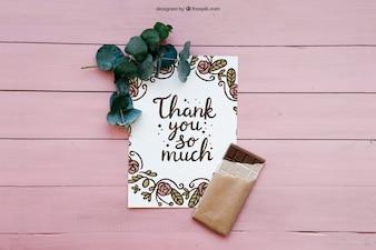 Obrigado cartão e chocolate
