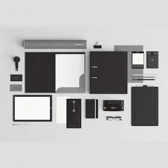 Papéis timbrados preto com elementos de escritório