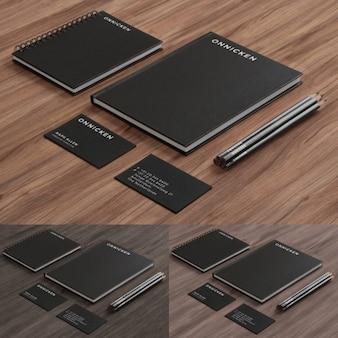 Papelería corporativa negra y elegante