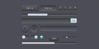 Pequeño grupo de elementos de interfaz de usuario