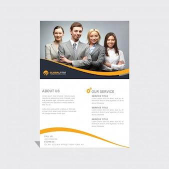 Plantilla de folleto con líneas onduladas amarillas