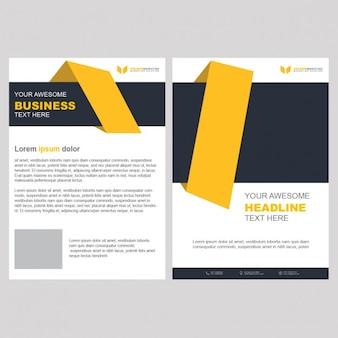 Plantilla de folleto de negocios de color amarillo con formas geométricas